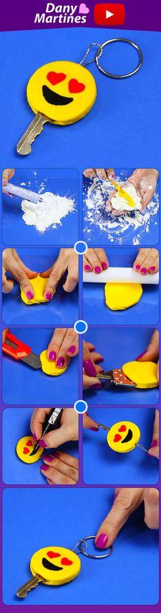 Faça você mesmo uma capinha de chave de emoji, fica coisa mais linda! DIY, Do It Yourself, Massa de silicone