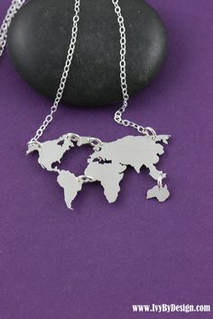 World Map Necklace Earth Day Gift Graduation Globe Necklace World Travel Foreign Exchange Student Jewelry World Outline Wanderlust Gift Silver Pendant Necklace, Diamond Pendant, Sterling Silver Necklaces, Jewelry Necklaces, Diamond Necklaces, Gold Pendant, Diamond Choker, Garnet Necklace, Craft Jewelry