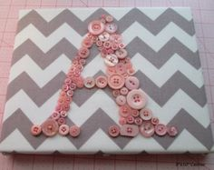 Baby Nursery Wall Art, Children Wall Art, Button Letter Canvas, Gray and White Chevron With Your Choice Button Color