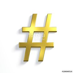 """Hash Tag. 3D Render Illustration Isolated.Golden Metallic color"" Stock photo and royalty-free images on Fotolia.com - Pic 184646514"