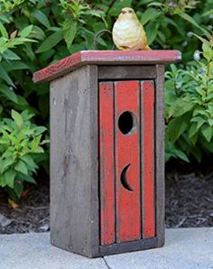 New Primitive Country Red Rustic Outhouse Birdhouse Wood Hanging Bird House | eBay