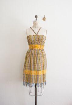 vintage 1960s woven fringe dress by blossomvintageshop on Etsy