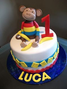 Monkey Birthday Cake by Cre8acake, via Flickr - I am going to use this idea, but make it my own for Liam's cake... wish me luck :)