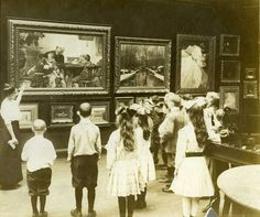 RISD Museum, children and docents, about 1920?