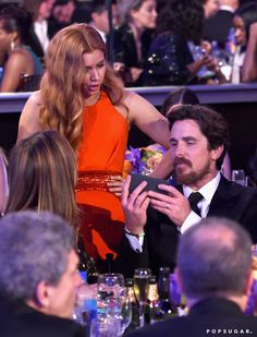 Pin for Later: 12 Costar Reunions You Might Have Missed at the Golden Globes Amy Adams and Christian Bale, The Fighter and American Hustle