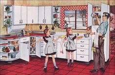 Source: Better Homes & Gardens Images from the Mid Century Home Style collection. 1950s Decor, Retro Home Decor, Home Decor Kitchen, Vintage Decor, Vintage Art, Kitchen Ideas, 1950s Kitchen, Vintage Kitchen, Retro Kitchens