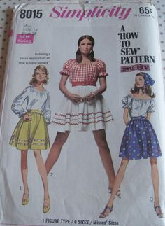Simplicity  8015  Skirt, Blouse and Scarf..dated 1968. $4.95 Etsy.