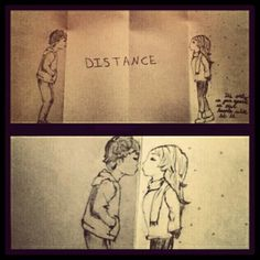 Distance is only as far apart as you allow it. Drew this for him #ldr #gift #boyfriend