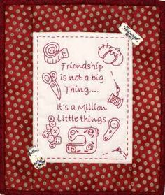"""""""Friendship"""" Stitchery Hand Embroidery Stitches, Embroidery Hoop Art, Cross Stitch Embroidery, Embroidery Patterns, Machine Embroidery, Primitive Embroidery, Primitive Stitchery, Quilting Quotes, Sewing Quotes"""