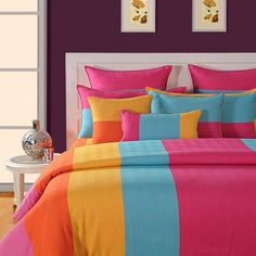 Swayam Linea Stripes Bed Set Stripes - Let your contemporary style home decor find a worthy addition with this multicoloured bed set from Swayam. Having an enticing linea pattern, this bed set is made of cotton. It is machine wash safe. Large Bed Sheets, Best Bed Sheets, Fitted Bed Sheets, Beige Duvet Covers, Rainbow Bedding, Striped Bedding, Home Decor Bedding, Fancy Houses, Buy Bed