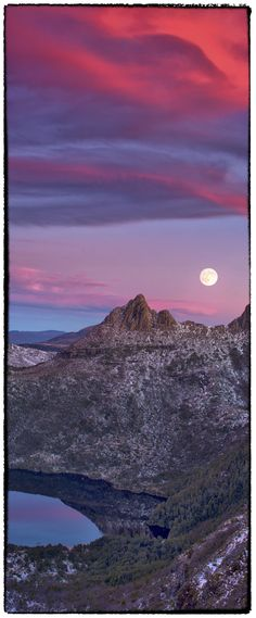 Cradle Mountain-Lake St Clair National Park, Tasmania, Australia -Full Moon