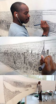 This man can see an entire city from a helicopter and memorize and draw out each building in detail, so amazing!