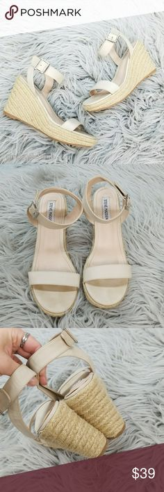 Steve Madden Ankle Strap Espadrille Wedge Sandals Steve Madden Ankle Strap Espadrille Wedge Sandals in great used condition size 8.5. Nude color. Some minor marks from use including footbed marks. Beautiful and classic!  Please let me know if you have any questions. Happy Poshing! Steve Madden Shoes Espadrilles