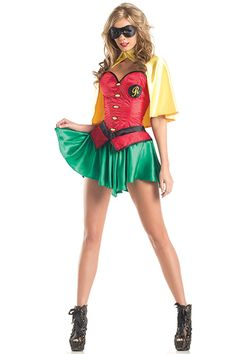 Lovely and corolful costume Miss Robin. You can save anyone in this stylish halloween costume. Miss Robin costume features red corset, green mini skirt, yellow cape and black mask. Batman Robin, Batman And Robin Costumes, Robin Superhero, Superhero Costumes Female, Superhero Halloween Costumes, Halloween Fancy Dress, Adult Costumes, Costumes 2015, Batman Halloween