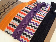 HALLOWEEN CHEVRON ORANGE Purple and Black by TiedUpLooseEnds, $4.50