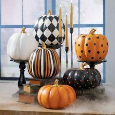 Multi Stripe Designer Pumpkin   Grandin Road Diy Pumpkin, Cute Pumpkin, Pumpkin Carving, Pumpkin Ideas, Pumpkin Crafts, White Pumpkin Decor, Carving Pumpkins, Pumpkin Colors, White Pumpkins