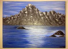 """Ocean's rocks"" Original oil painting on canvas by Elena Hajda. 24in x 18in"
