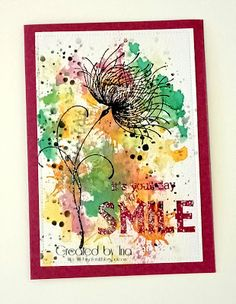 Little Bits of Craft: Colour Me 'Brightly' Watercolour Challenge, Medium Blog, Christmas Challenge, Pink Cards, Distress Oxides, Penny Black, Love Design, Shades Of Purple, Mixed Media Art