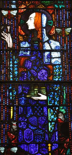 St Abigail/Deborah/Gobnait my potential patron Saint for confirmation. Stained Glass Church, Stained Glass Art, Stained Glass Windows, Harry Clarke, Church Windows, Irish Art, Patron Saints, Arts And Crafts Movement, Pilgrimage