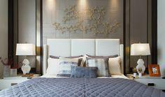 GlaMBarbiE luxuxy hotel style bedroom I feature wall bedroom