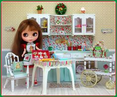 Blythe doll Christmas Kitchen - scene craft and photo by Debby Emerson