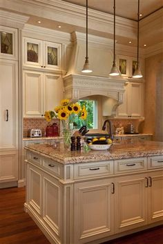 Cream colored kitchen.