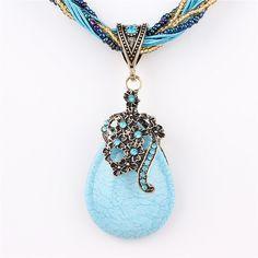 Nueva declaración choker collar turquesa grano de los encantos de la vendimia colgante de diamantes de imitación de cristal collar de la mujer fina joyería colares 7 color