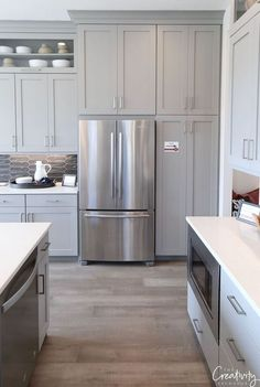 The Grey Kitchen Cabinets Painted Sherwin Williams Pitfall 80 - - Grey Kitchen Cabinets, Kitchen Cabinet Colors, Painting Kitchen Cabinets, Kitchen Paint, New Kitchen, Kitchen Decor, Brown Cabinets, Kitchen White, Awesome Kitchen