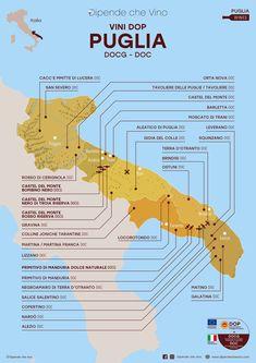 Tutti i vini DOP (DOCG e DOC) della Puglia, localizzati sulla carta regionale. Al link le informazioni sulle tipologie e sugli uvaggi.  Italian Wine Region Puglia Wine And Liquor, Wine Drinks, Italy Map, Italy Travel, Castel Del Monte, Wine Pics, Wine Down, Wine Collection, Italian Wine