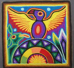 Tepehuano-Huichol Yarn painting