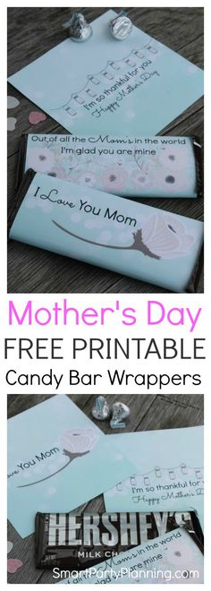 Finding the perfect gift for Mother's day can feel like a hard task, but it doesn't have to be. Choose from a set of 3 FREE printable Mother's Day candy bar wrappers that mom will absolutely love. Give as a gift from the kids, or add to a hamper with a bottle of wine. They will definitely make her feel happy.