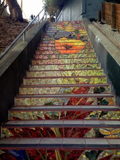 """""""This lovely mosaic staircase is tucked away in Inner Sunset, San Francisco (16th Ave and Kirkham). Like its twin at 16th and Moraga, it is very close to Grand View Park, which offers a magnificent view of the city."""" Via """"Meliora"""" Tumblr. -- Click through to see 6 different and equally amazing mosaics. (I had to laugh at one of the tags, though: """"places to take your date if you have a robust cardiovascular system""""!!)"""