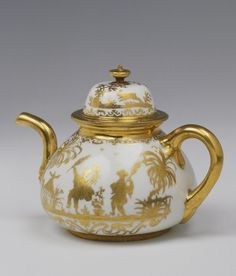 Germany, Circa 1710-1730  Title: Teapot and Lid Place of creation: Germany Authors: The author of a model: Irminger, Johann Jakob. 1635-1724; Painter: Seutter, Abraham, circa 1690-1747 Date: Circa 1710-1730 School: Meissen Material: porcelain Technique: painted in gold