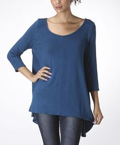 Look what I found on #zulily! Teal Scoop Neck Sidetail Top #zulilyfinds