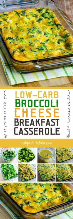 This tasty Low-Carb Broccoli Cheese Breakfast Casserole is one that I make over and over, and this delicious Meatless Monday breakfast idea is also Keto, low-glycemic, gluten-free and South Beach Diet Phase One! [found on http://KalynsKitchen.com]