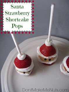 Santa Strawberry Shortcake Pops