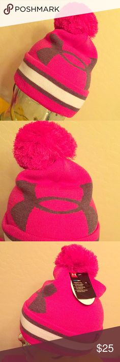 Under Armour Power in Pink Pom Pom Beanie Authentic Under Armour Power in Pink Pom Pom Beanie. Full Crown. OS. UA Power in Pink is donating $10 Million to John Hopkins Kimmel Cancer Center to Benefit Breast Health, Innovation, & Education. Bright Pink with Grey & White Accents. Large Grey UA Logo on the Front. Grey & White Striped Cuffed Brim. Large Bright Pink Pom Pom. Breast Cancer Awareness Logo on the Back Left Side of the Cuffed Brim. Brand New. Excellent Condition. No Trades. See…