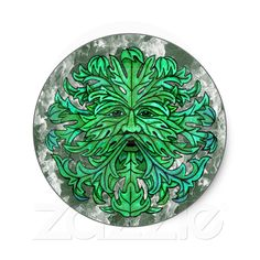 Green Man Gaze Sticker from Zazzle.com