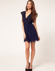 Enlarge ASOS Skater Dress With Embellished Trim on sale for $29.02