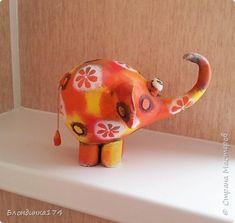 Здравствуйте, мои дорогие Друзья! Хочу показать вам слонят, сделанных из папье-маше. Пока их двое:) фото 7