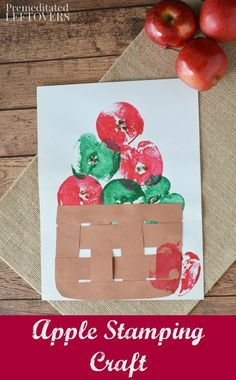 Apple Stamping Craft Project for Kids- This stamping craft idea is a fun way to paint with apples. It's also a frugal and easy activity for kids! Use this tutorial for a fun fall activity or a hands-on activity when teaching the letter a to children