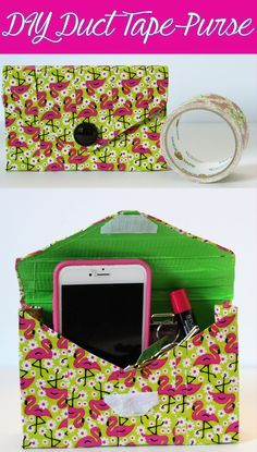 Easy DIY Duct Tape Purse Tutorial to spruce up your summer wardrobe with this cute flamingo print!