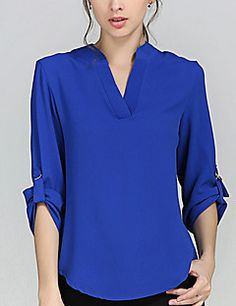 Plus Size Women Spring Chiffon Blouse Casual Loose V Neck Long Sleeve Tops Shirts 2017 Sexy Blusas Femininas Blouse Styles, Blouse Designs, Casual Outfits, Fashion Outfits, Fashion Women, Women's Fashion, Plus Size Blouses, Blouses For Women, Tunic Tops