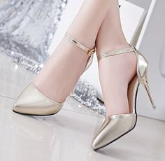 2015 Spring korean new pointed toe ankle-strap summer style women pumps pu leather women high heels shoes woman zapatos mujer