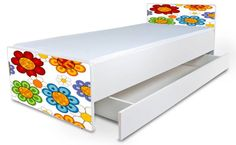 Detská posteľ bez bočníc Kvety mix + šuflík