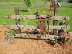 For the flower beds we do around the barn Garden Yard Ideas, Lawn And Garden, Garden Projects, Outdoor Landscaping, Front Yard Landscaping, Hitching Post, Rustic Gardens, Le Far West, Farm Yard