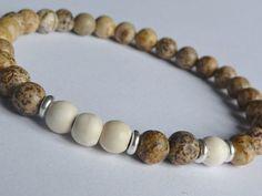 Men's Bracelet //Jaspe,Howlite,Silver // Handcrafted Gemstone Bracelet //  Men's Mala Bracelet, Mala Beads Bracelet,Tribal,Silver 925