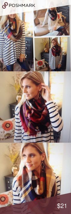 Cozy Plaid infinity scarves Three beautiful colors, brown , burgandy and black. 100% acrylic. Very warm and soft❣❣ specify color when ordering  Infinity Raine Accessories Scarves & Wraps