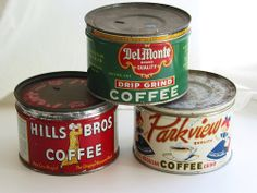 Vintage coffee cans Coffee Tin, I Love Coffee, Black Coffee, Coffee Break, Coffee Shop, Coffee Cups, Vintage Tins, Vintage Coffee, Vintage Kitchen