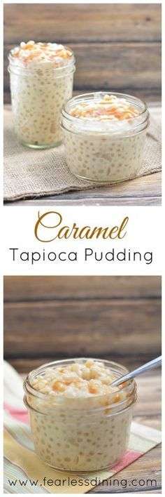 If you love tapioca pudding, than you may enjoy this 5 ingredient caramel tapioca pudding. Easy to make, it can be enjoyed warm or cold. Dessert Sans Gluten, Gluten Free Desserts, Easy Desserts, Delicious Desserts, Dessert Recipes, Yummy Food, Filipino Desserts, Panna Cotta, Tapioca Pudding